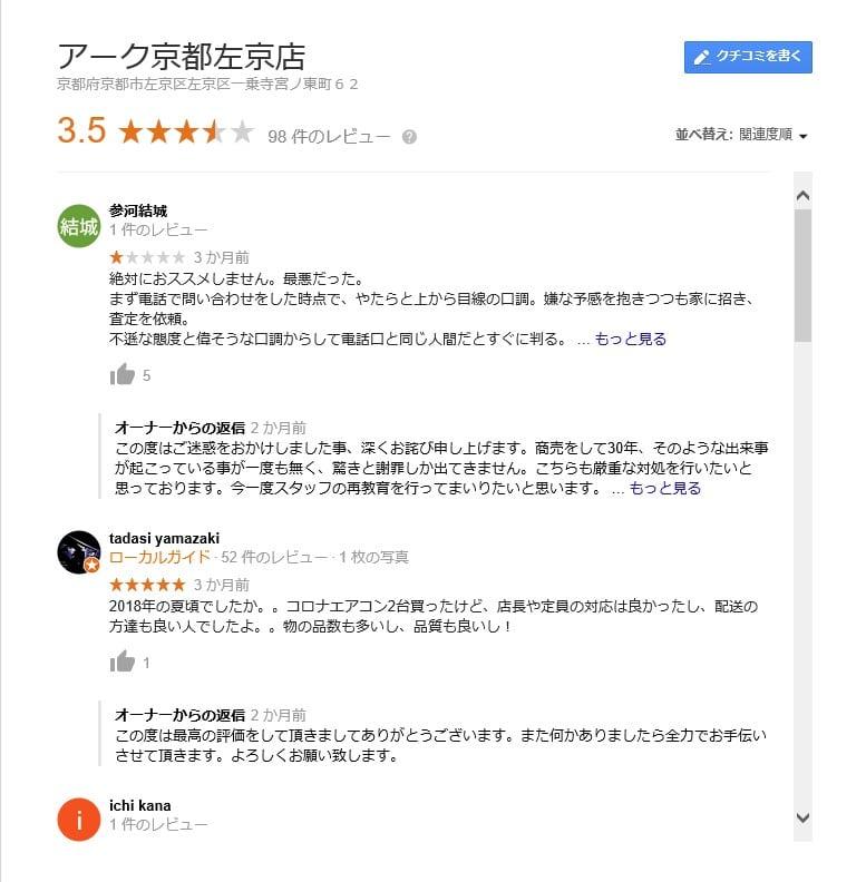 京都リサイクルアークの口コミ