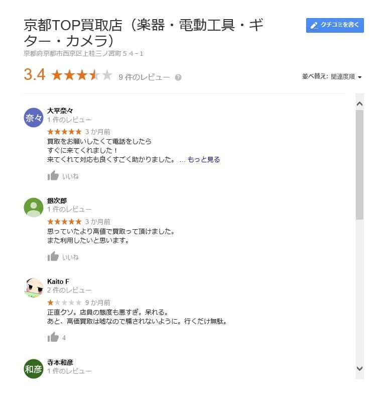 京都TOP楽器屋さんの口コミ